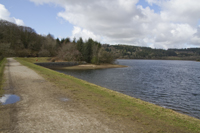 Walking across Sheepstor Dam